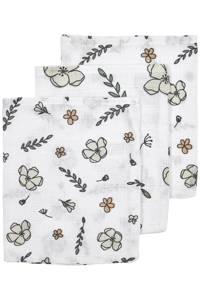 Meyco hydrofiel washandje - set van 3 Floral GOTS 17x20 cm wit/multi, Wit/multi
