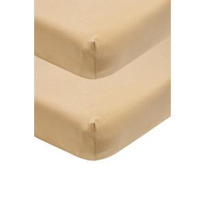 katoenen jersey hoeslaken ledikant - set van 2 60x120 warm sand Zand