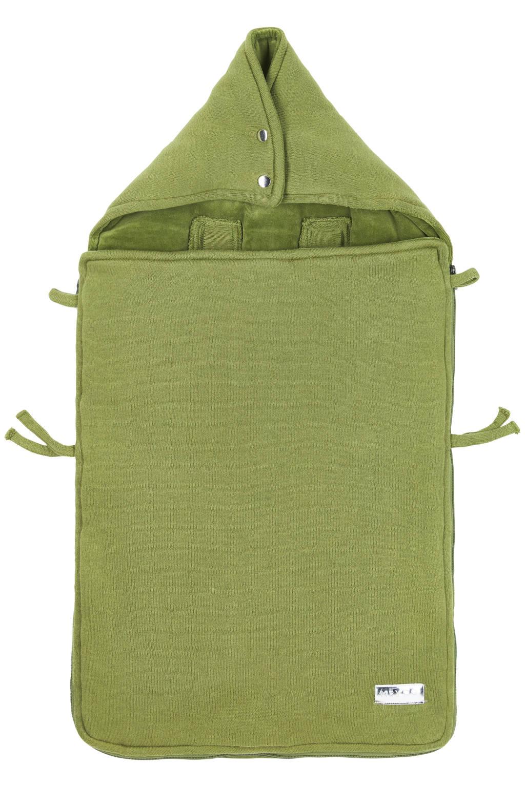 Meyco gebreide autostoel voetenzak Knit basic avocado, Groen