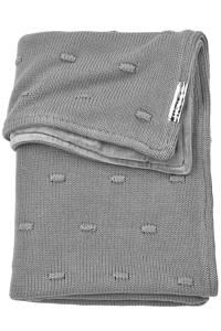 Meyco ledikantdeken velvet Knots 100x150 cm grijs, Fluweel
