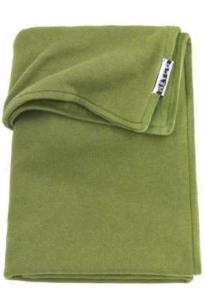 fijngebreide ledikantdeken velvet Knit basic 100x150 cm avocado