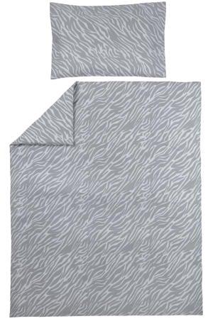 ledikant dekbedovertrek + kussensloop 100x135 cm Zebra grijs