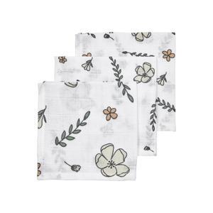 hydrofiel monddoekje - set van 3 Floral GOTS 30x30 cm wit/multi