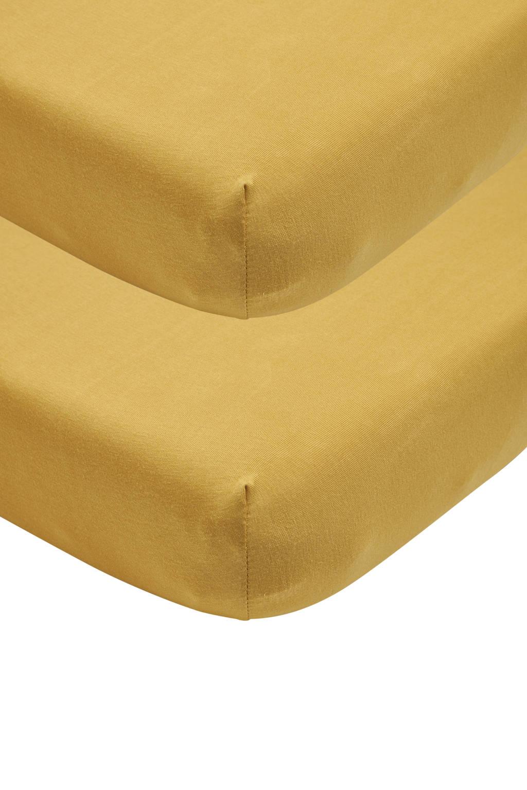 Meyco katoenen jersey hoeslaken wieg - set van 2 40x80/90 honey gold Goud