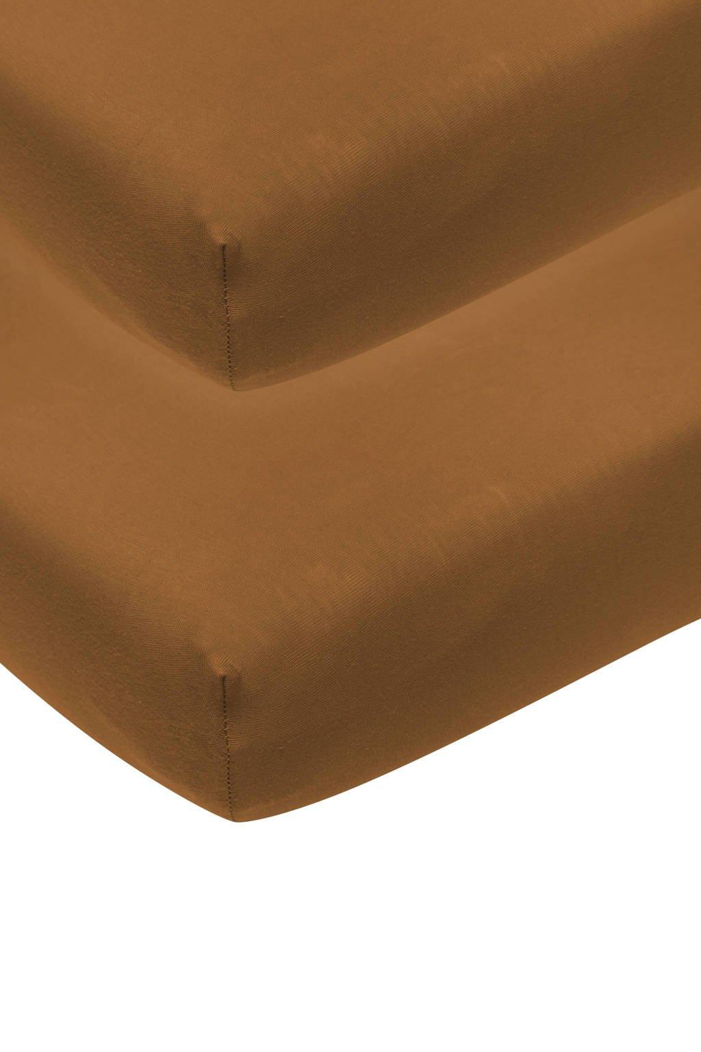 Meyco katoenen jersey hoeslaken wieg - set van 2 50x90 camel Camel