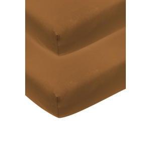 katoenen jersey hoeslaken wieg - set van 2 50x90 camel Camel