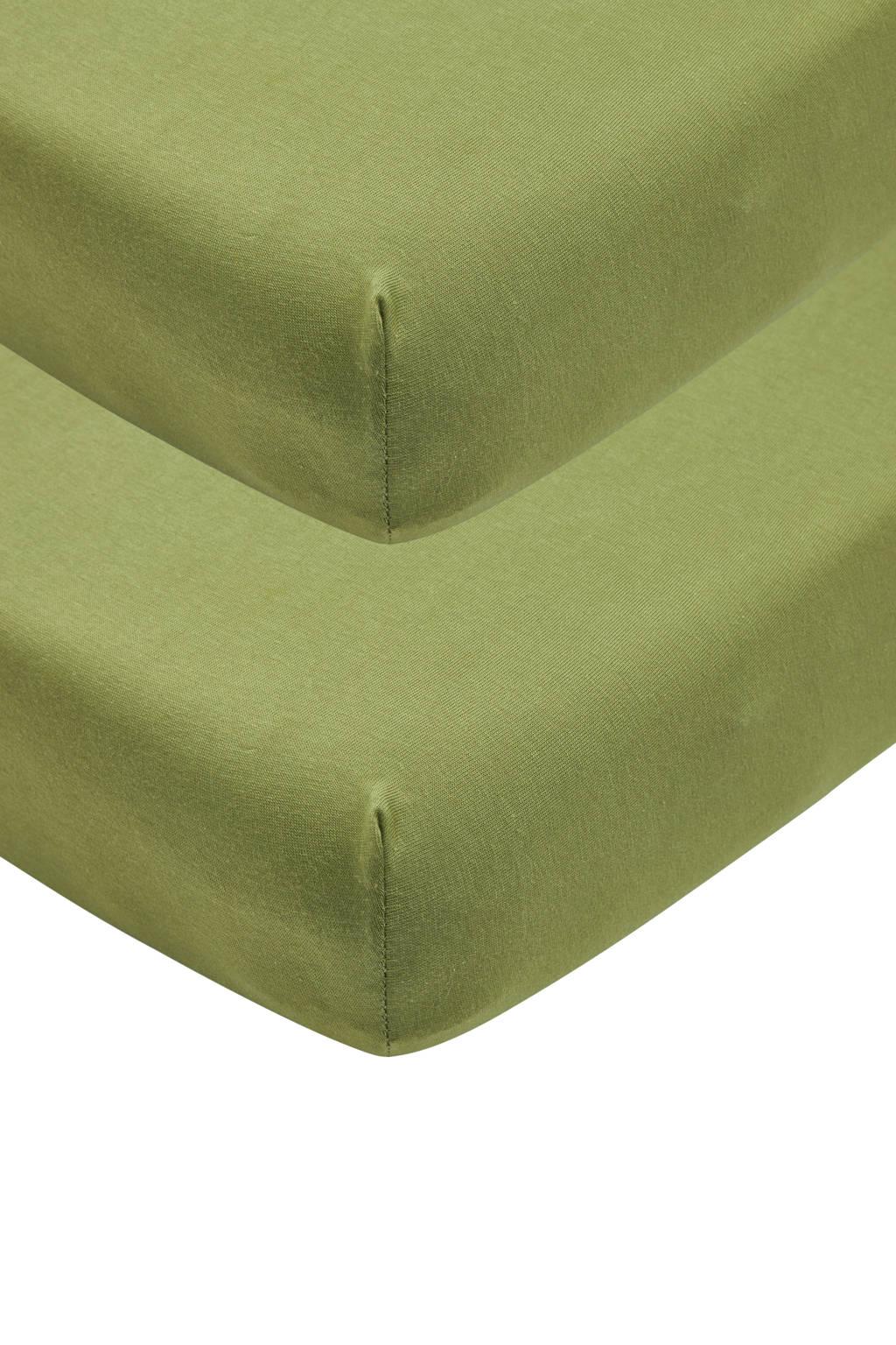 Meyco katoenen jersey hoeslaken wieg - set van 2 40x80/90 avocado Groen