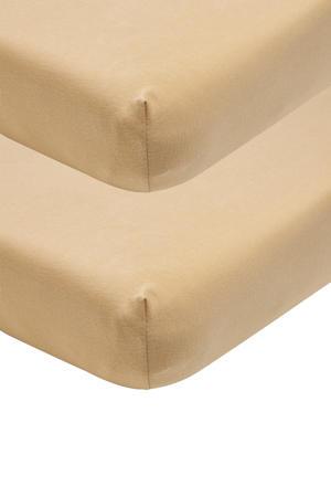 katoenen jersey hoeslaken peuter - set van 2 70x140/150 cm warm sand Zand