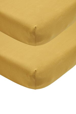 katoenen jersey hoeslaken ledikant - set van 2 60x120 honey gold Goud