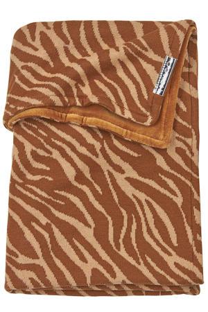 wiegdeken velvet Zebra 75x100 cm camel