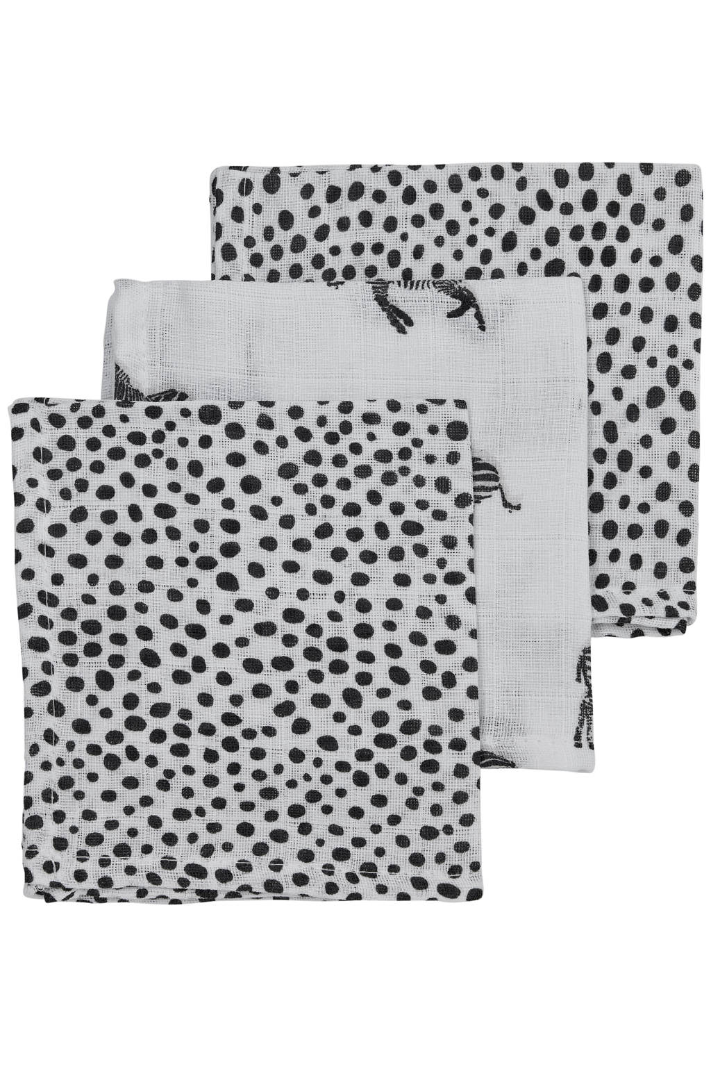 Meyco hydrofiel monddoekje - set van 3 Zebra/Cheetah 30x30 cm wit/zwart, Wit/zwart
