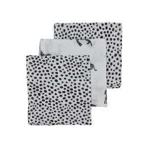 hydrofiel monddoekje - set van 3 Zebra/Cheetah 30x30 cm wit/zwart