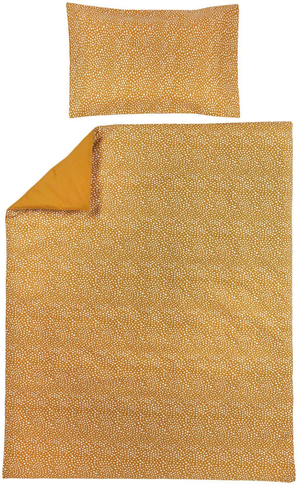 Meyco ledikant dekbedovertrek + kussensloop 120x150 cm Cheetah/Uni honey gold, Goud