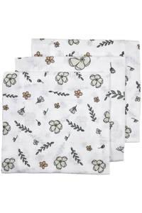Meyco hydrofiele luier - set van 3 Floral GOTS 70x70 cm wit/multi, Wit/multi