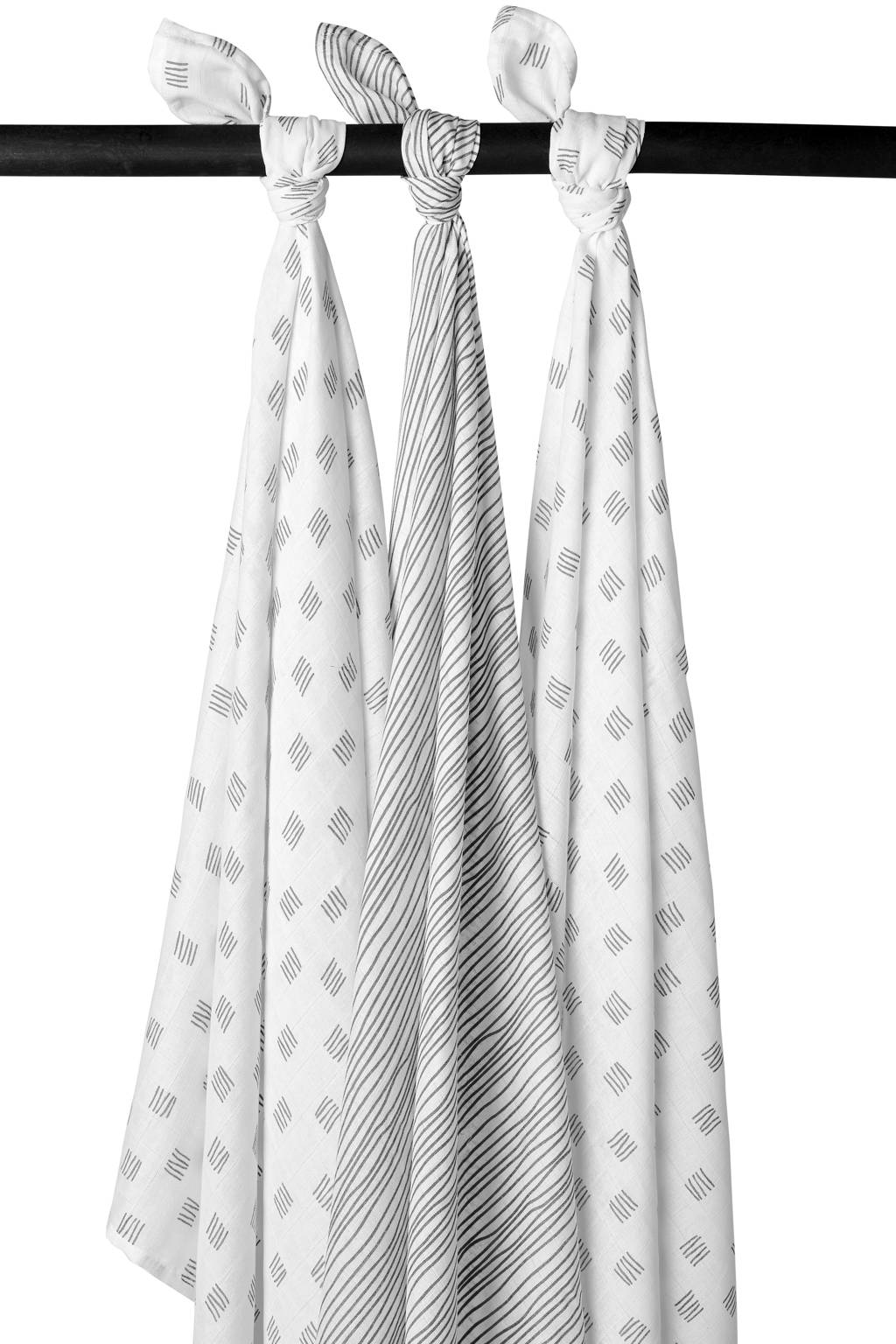 Meyco hydrofiele luiers - set van 3 Block stripe grijs, Grijs