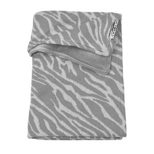 wiegdeken velvet Zebra 75x100 cm grijs