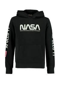 America Today Junior hoodie Nasa Semuel met tekst zwart/wit, Zwart/wit