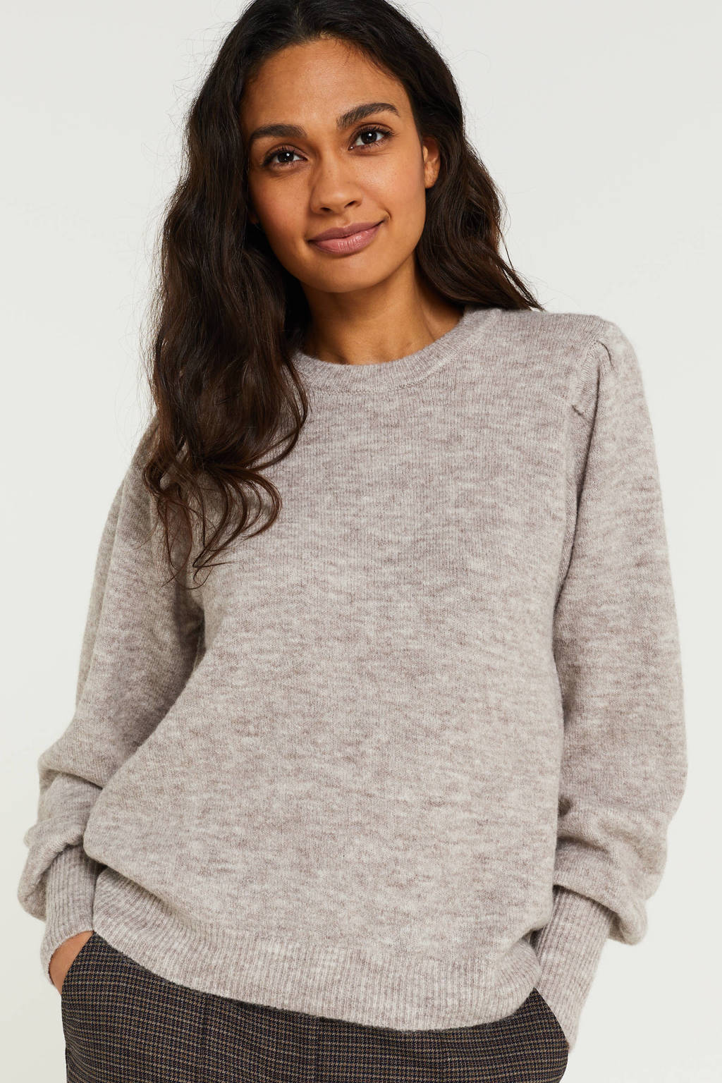 PIECES trui warm taupe, Warm taupe