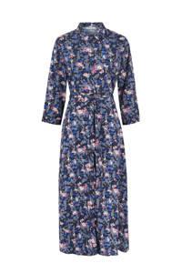 PIECES maxi jurk met all over print blauw, Blauw/zwart