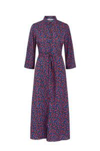 PIECES maxi jurk met all over print blauw/rood, Blauw/rood