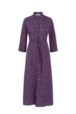 maxi jurk met all over print blauw/rood