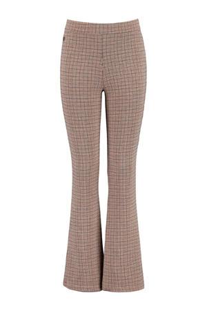 flared broek met all over print bruin/beige/zwart