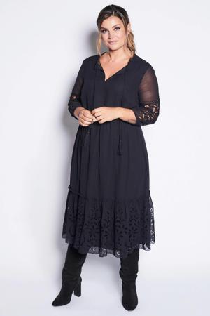 jurk met broderie anglaise zwart
