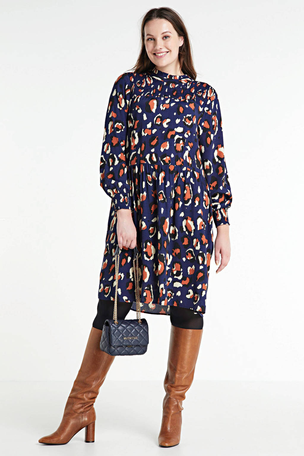 ONLY CARMAKOMA jurk Ani met all over print en ruches blauw, Blauw