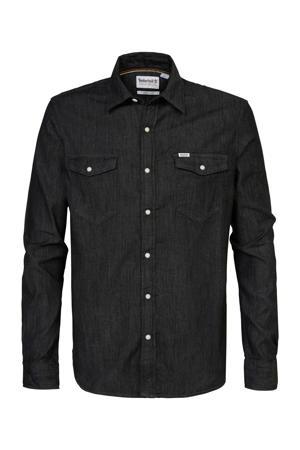 regular fit overhemd van biologisch katoen zwart