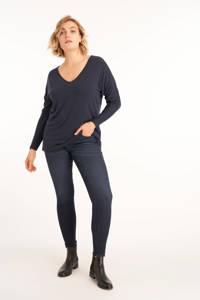 MS Mode trui met open detail donkerblauw, Donkerblauw