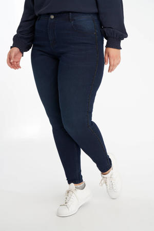 skinny jeans met zijstreep dark denim/goud