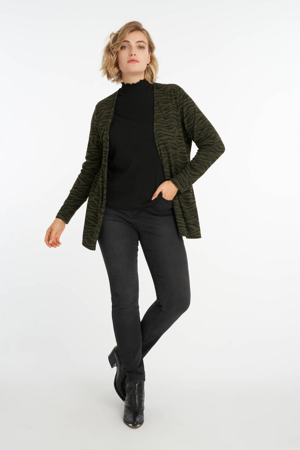 MS Mode vest met zebraprint donkergroen/zwart, Donkergroen/zwart