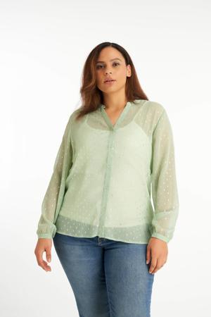 semi-transparante blouse met glitters mintgroen/zilver