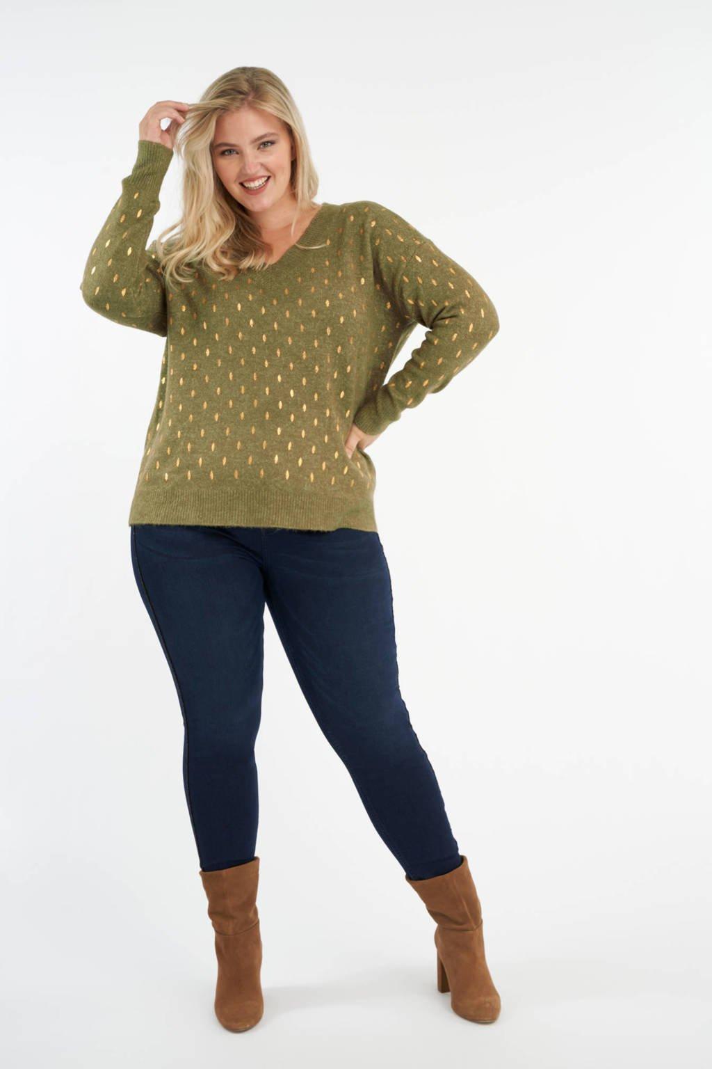 MS Mode fijngebreide trui met bladprint en textuur olijfgroen, Olijfgroen