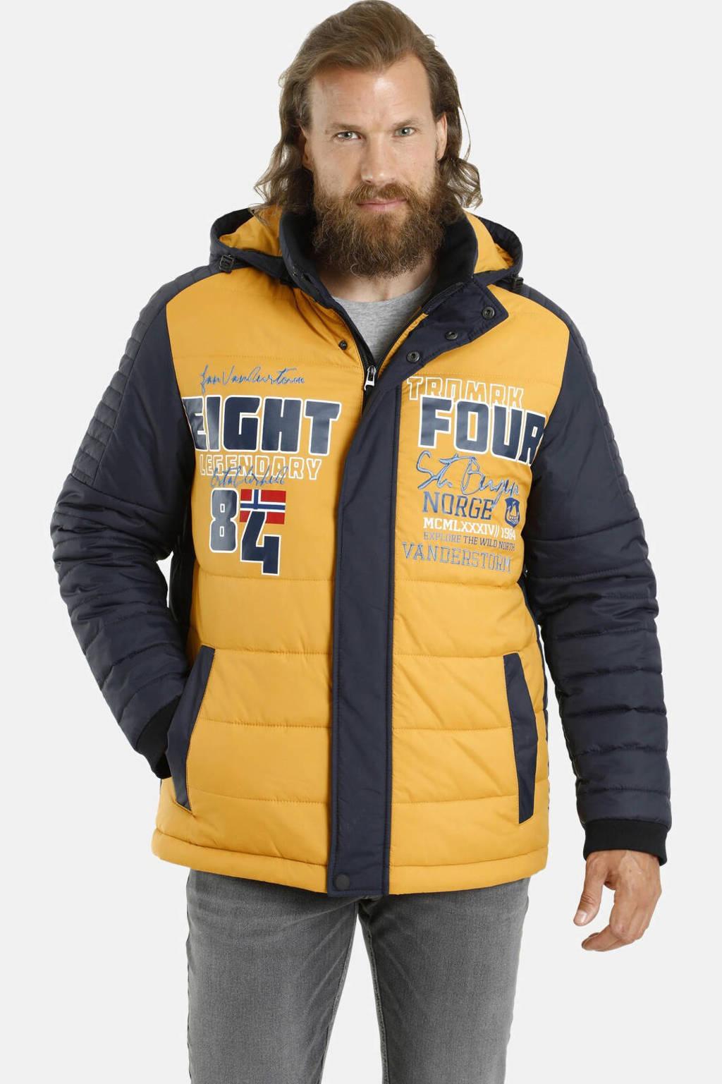 Jan Vanderstorm jas Plus Size Aivert geel/donkerblauw, Geel/donkerblauw