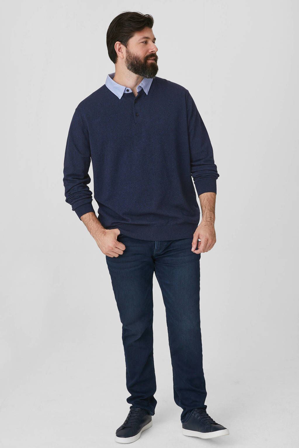 C&A XL regular fit polo donkerblauw, Donkerblauw