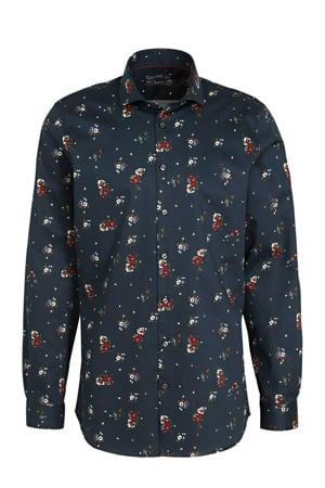 gebloemd slim fit overhemd donkerblauw