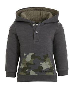 hoodie met camouflageprint antraciet/groen