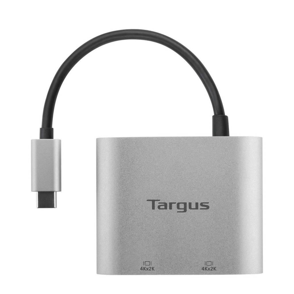 Targus ACA947EU USB-C hub dual video adapter, Zilver