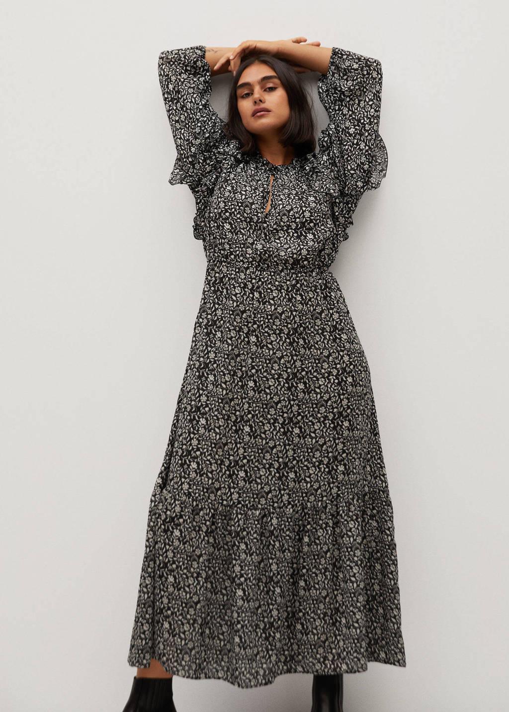 Violeta by Mango maxi jurk met all over print en ruches zwart/wit, Zwart/wit