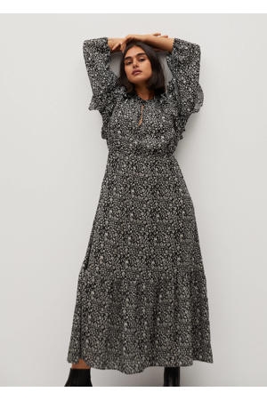 maxi jurk met all over print en ruches zwart/wit