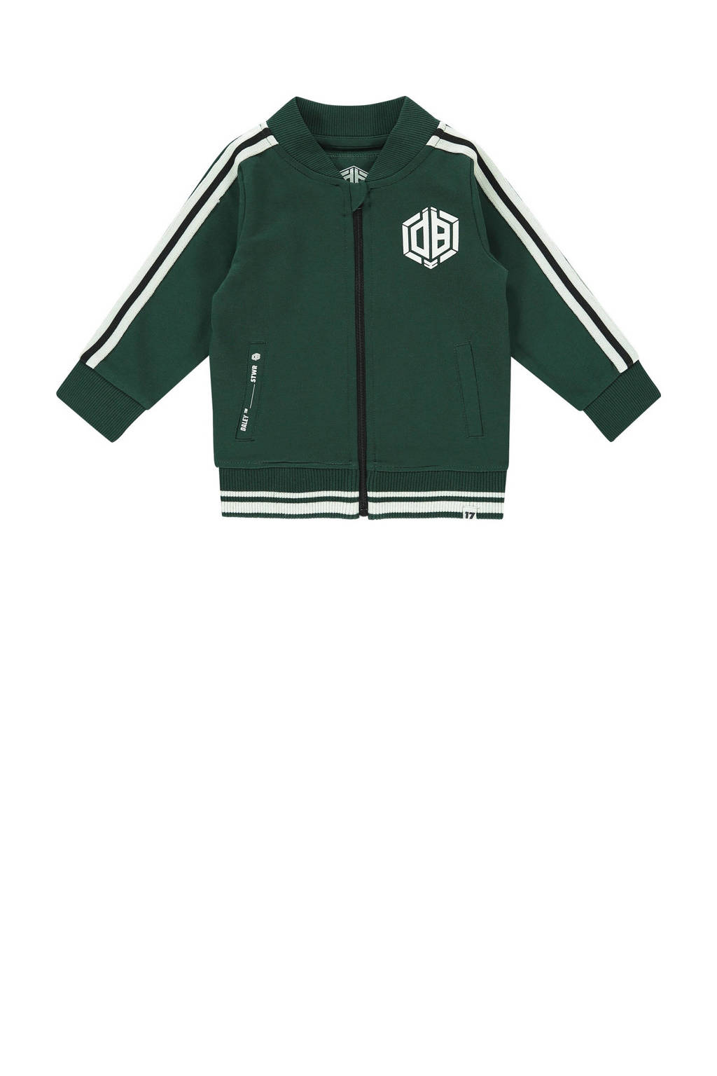 Vingino Daley Blind vest Onano mini met contrastbies groen/wit, Groen/wit
