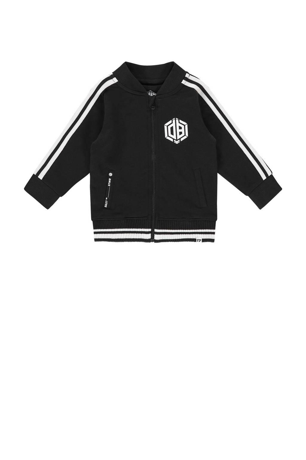 Vingino Daley Blind vest Onano mini met contrastbies zwart/wit, Zwart/wit