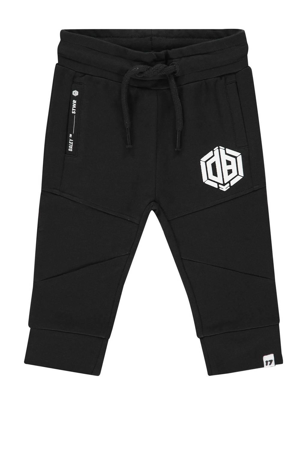 Vingino Daley Blind tapered fit joggingbroek Sode mini met logo zwart, Zwart