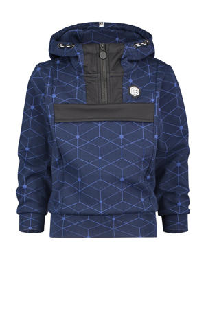 hoodie Nace met all over print donkerblauw