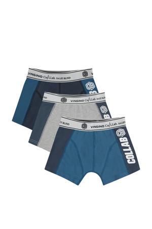 boxershort Vective- set van 3 donkerblauw/grijs melange/blauw