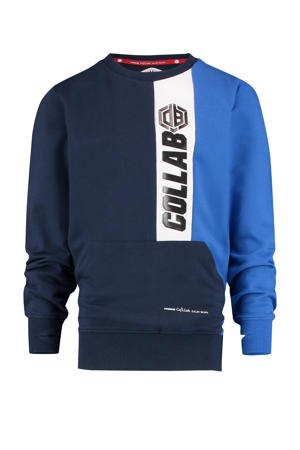 sweater Nicet met logo donkerblauw/blauw/wit