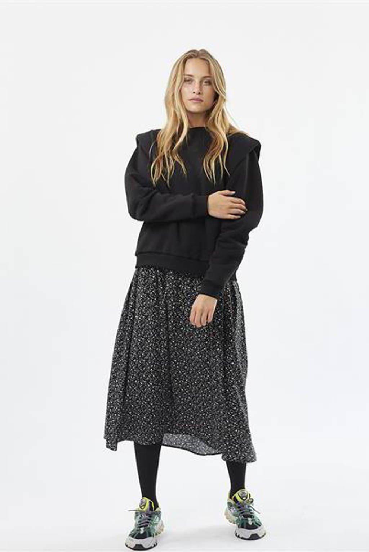 Moves regular fit sweater Quest met ruches zwart, Zwart