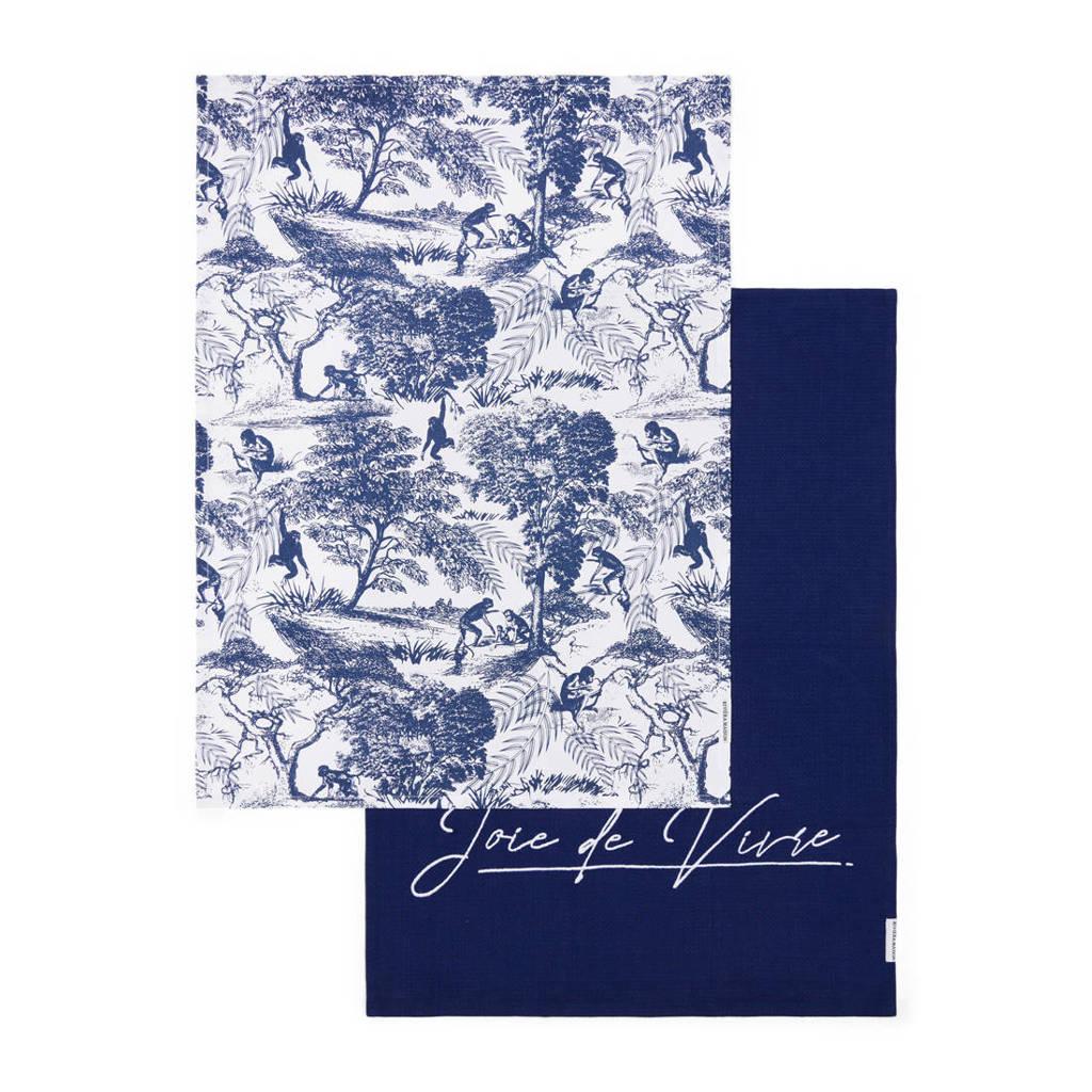 Riviera Maison theekdoek (set van 2), Blue/Wit