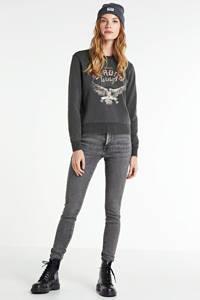 VERO MODA high waist skinny jeans Lora met biologisch katoen donkergrijs, Donkergrijs